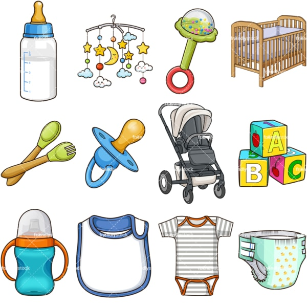Cartoon baby objects. PNG - JPG and vector EPS file formats (infinitely scalable). Images isolated on transparent background.