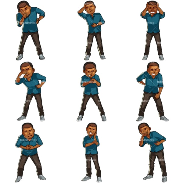 Cartoon black men not feeling well. PNG - JPG and vector EPS file formats (infinitely scalable). Images isolated on transparent background.