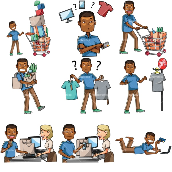 Cartoon black men shopping bundle. PNG - JPG and vector EPS file formats (infinitely scalable). Images isolated on transparent background.
