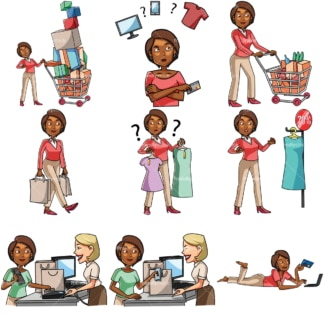 Cartoon black women shopping bundle. PNG - JPG and vector EPS file formats (infinitely scalable). Images isolated on transparent background.
