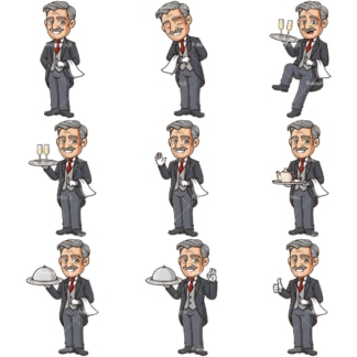 Cartoon butler. PNG - JPG and infinitely scalable vector EPS - on white or transparent background.