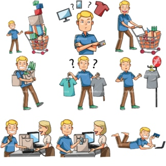 Cartoon caucasian men shopping. PNG - JPG and vector EPS file formats (infinitely scalable). Images isolated on transparent background.