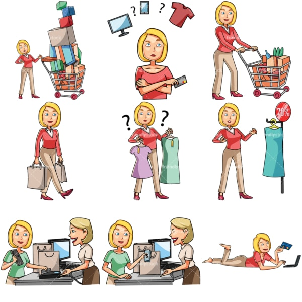 Cartoon caucasian women shopping bundle. PNG - JPG and vector EPS file formats (infinitely scalable). Images isolated on transparent background.