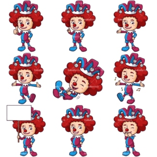Cartoon jester character. PNG - JPG and infinitely scalable vector EPS - on white or transparent background.