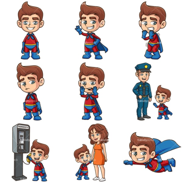 Cartoon kid superhero. PNG - JPG and infinitely scalable vector EPS - on white or transparent background.