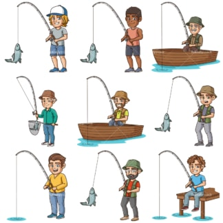 Cartoon men fishing. PNG - JPG and infinitely scalable vector EPS - on white or transparent background.