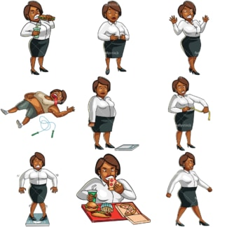 Cartoon overweight black businesswoman. PNG - JPG and vector EPS file formats (infinitely scalable). Images isolated on transparent background.