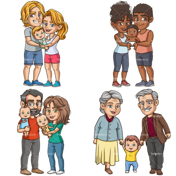 Cartoon parents and grandparents with babies. PNG - JPG and vector EPS file formats (infinitely scalable).