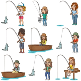 Cartoon women fishing. PNG - JPG and infinitely scalable vector EPS - on white or transparent background.