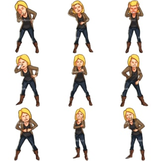 Cartoon women not feeling well. PNG - JPG and vector EPS file formats (infinitely scalable). Images isolated on transparent background.