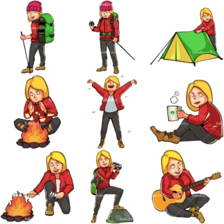 Caucasian female camping and hiking. PNG - JPG and vector EPS file formats (infinitely scalable). Images isolated on transparent background.