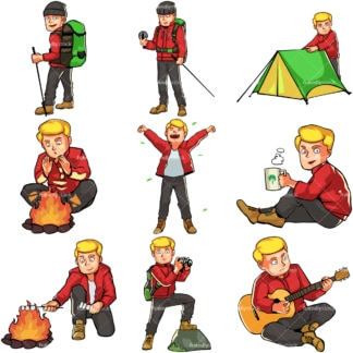 Caucasian male camping and hiking. PNG - JPG and vector EPS file formats (infinitely scalable). Images isolated on transparent background.