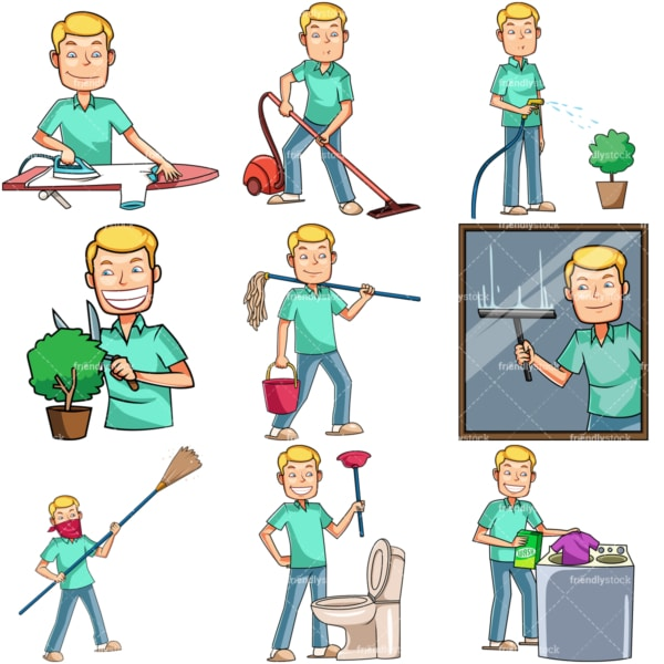 Caucasian man doing housework chores. PNG - JPG and vector EPS file formats (infinitely scalable). Images isolated on transparent background.