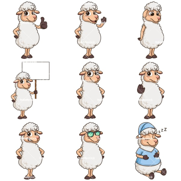 Cute sheep mascot character. PNG - JPG and infinitely scalable vector EPS - on white or transparent background.