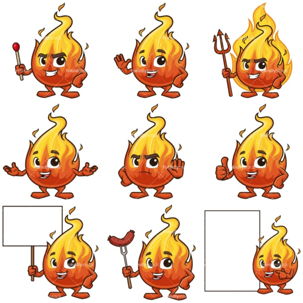 Fire flame mascot character. PNG - JPG and infinitely scalable vector EPS - on white or transparent background.