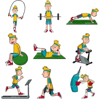 Man working out vector bundle. PNG - JPG and vector EPS file formats (infinitely scalable). Images isolated on transparent background.