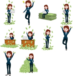 Money collection #2 lana. PNG - JPG and vector EPS file formats (infinitely scalable). Images isolated on transparent background.