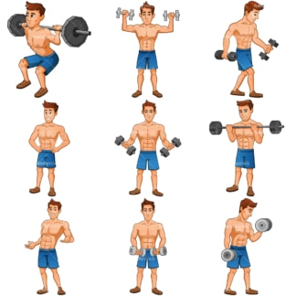 Muscle man cartoon character collection. PNG - JPG and infinitely scalable vector EPS - on white or transparent background.