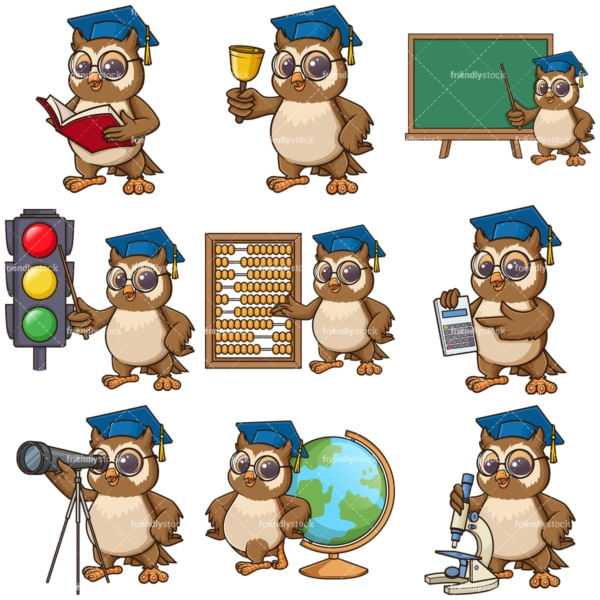 Owl teacher mascot character. PNG - JPG and infinitely scalable vector EPS - on white or transparent background.