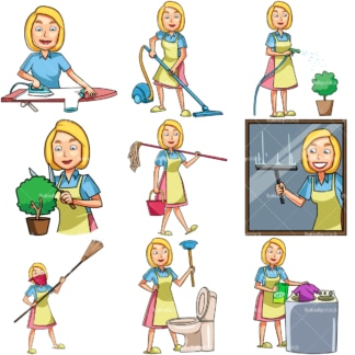 Woman doing housework chores. PNG - JPG and vector EPS file formats (infinitely scalable). Images isolated on transparent background.