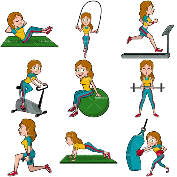 Woman working out vector bundle. PNG - JPG and vector EPS file formats (infinitely scalable). Images isolated on transparent background.