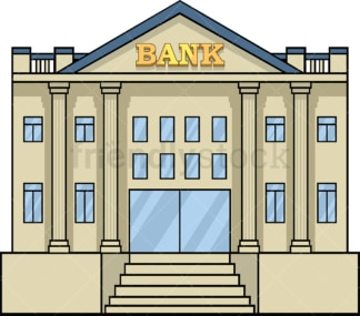 Bank building front view. PNG - JPG and vector EPS file formats (infinitely scalable). Image isolated on transparent background.