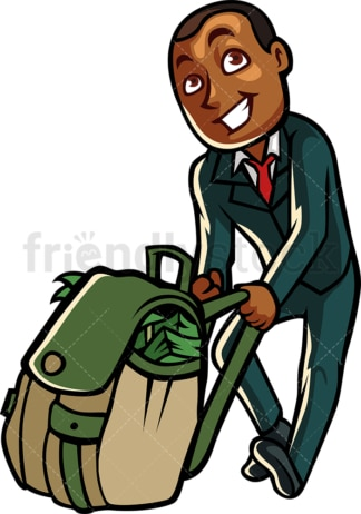 Black businessman pulling bag full of money. PNG - JPG and vector EPS file formats (infinitely scalable). Image isolated on transparent background.