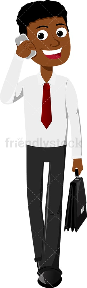Black businessman talking on mobile phone as he walks. PNG - JPG and vector EPS file formats (infinitely scalable). Image isolated on transparent background.