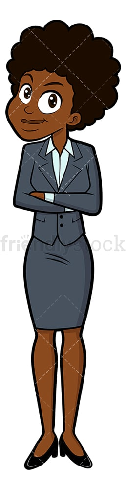 Black businesswoman standing with confidence. PNG - JPG and vector EPS file formats (infinitely scalable). Image isolated on transparent background.