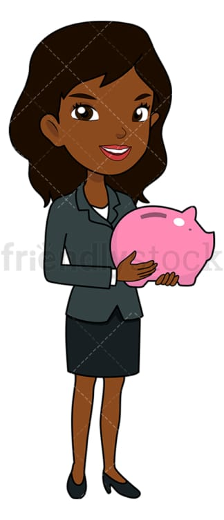 Black businesswoman with piggy bank. PNG - JPG and vector EPS file formats (infinitely scalable). Image isolated on transparent background.