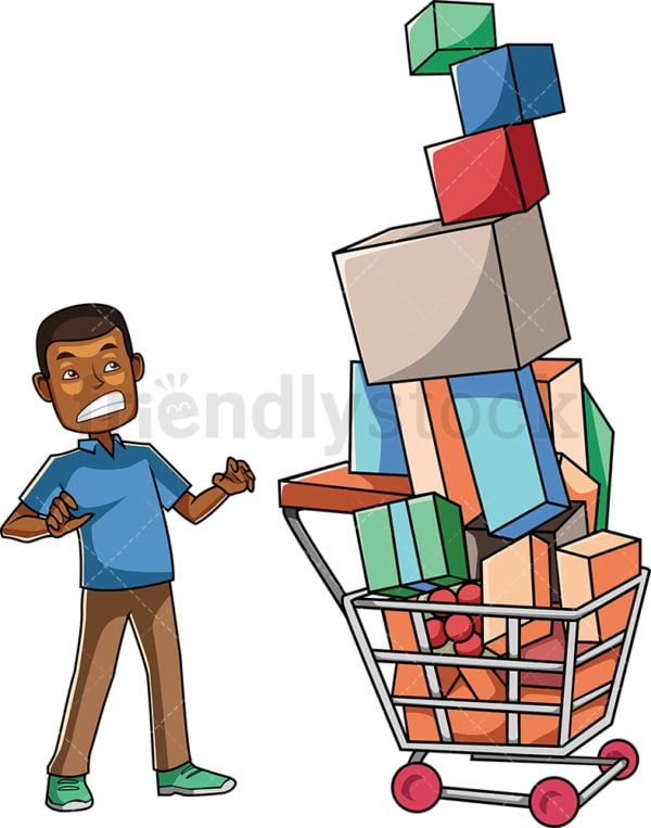 Black consumer with full shopping cart. PNG - JPG and vector EPS file formats (infinitely scalable). Image isolated on transparent background.
