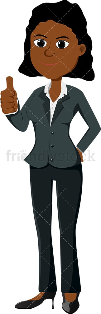 Black female entrepreneur giving the thumbs up. PNG - JPG and vector EPS file formats (infinitely scalable). Image isolated on transparent background.