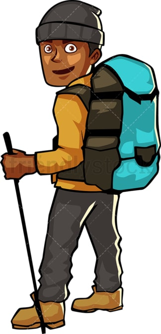 Black man backpacking with trekking stick. PNG - JPG and vector EPS file formats (infinitely scalable). Image isolated on transparent background.