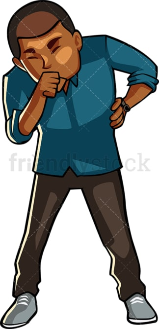Black man coughing. PNG - JPG and vector EPS file formats (infinitely scalable). Image isolated on transparent background.
