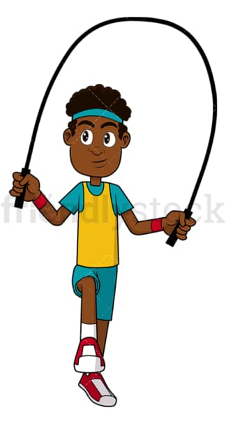 Black man exercising with jump rope. PNG - JPG and vector EPS file formats (infinitely scalable). Image isolated on transparent background.
