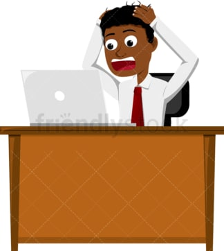 Black man holding laptop and freaking out. PNG - JPG and vector EPS file formats (infinitely scalable). Image isolated on transparent background.