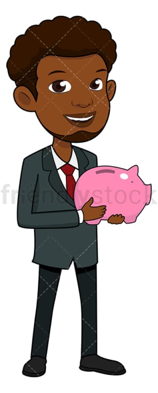 Black man holding piggy bank. PNG - JPG and vector EPS file formats (infinitely scalable). Image isolated on transparent background.
