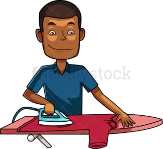 Black man ironing short shirt. PNG - JPG and vector EPS file formats (infinitely scalable). Image isolated on transparent background.