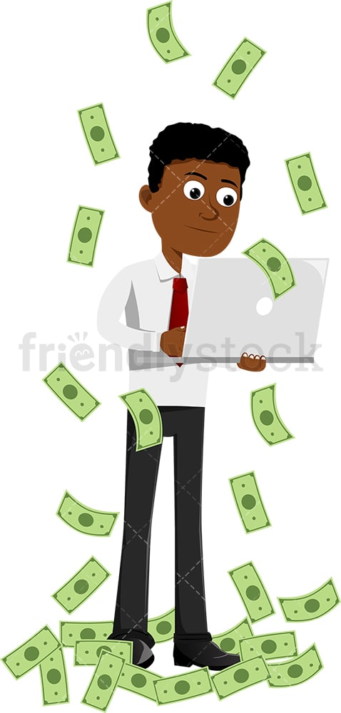 Black man working with laptop under money rain. PNG - JPG and vector EPS file formats (infinitely scalable). Image isolated on transparent background.