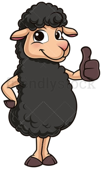 Black sheep thumbs up. PNG - JPG and vector EPS (infinitely scalable).