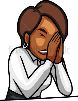 Black woman in despair. PNG - JPG and vector EPS file formats (infinitely scalable). Image isolated on transparent background.