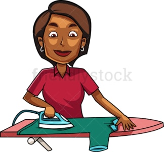 Black woman ironing a shirt. PNG - JPG and vector EPS file formats (infinitely scalable). Image isolated on transparent background.