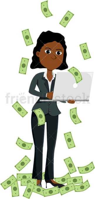 Black woman standing amidst money rain with laptop. PNG - JPG and vector EPS file formats (infinitely scalable). Image isolated on transparent background.