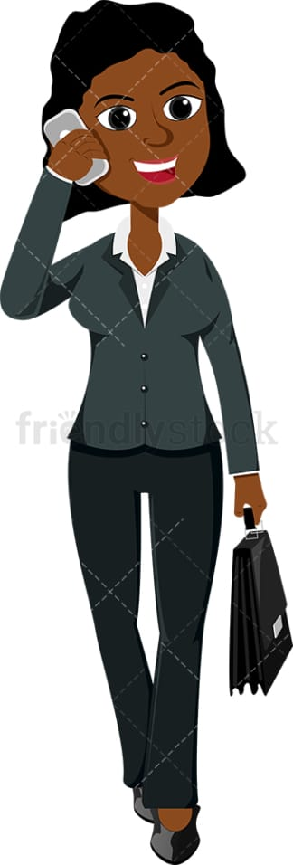 Black woman talking on cell phone as she walks. PNG - JPG and vector EPS file formats (infinitely scalable). Image isolated on transparent background.