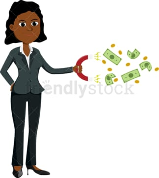 Black woman using magnet to attract cash. PNG - JPG and vector EPS file formats (infinitely scalable). Image isolated on transparent background.