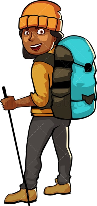 Black woman wearing hiking gear and backpack. PNG - JPG and vector EPS file formats (infinitely scalable). Image isolated on transparent background.
