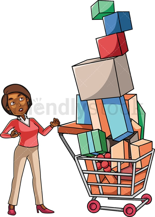 Black woman with overfull shopping cart. PNG - JPG and vector EPS file formats (infinitely scalable). Image isolated on transparent background.