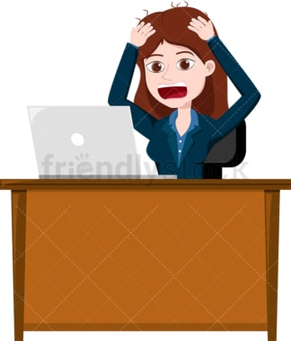Enraged woman looking at her laptop screen. PNG - JPG and vector EPS file formats (infinitely scalable). Image isolated on transparent background.