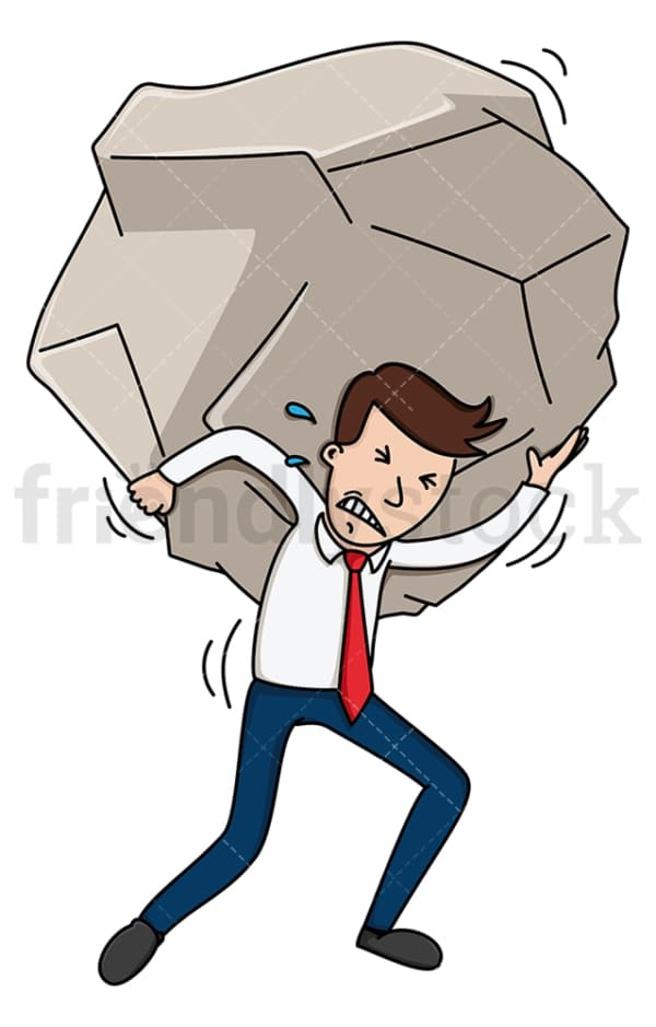 Struggling businessman carrying giant stone. PNG - JPG and vector EPS (infinitely scalable).