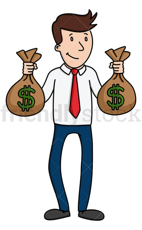 Businessman holding bags of money. PNG - JPG and vector EPS (infinitely scalable).